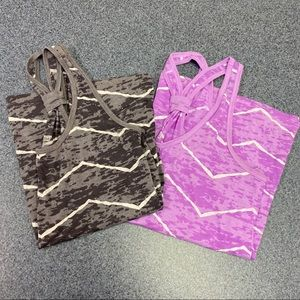 Two Old Navy size L sheer workout tanks